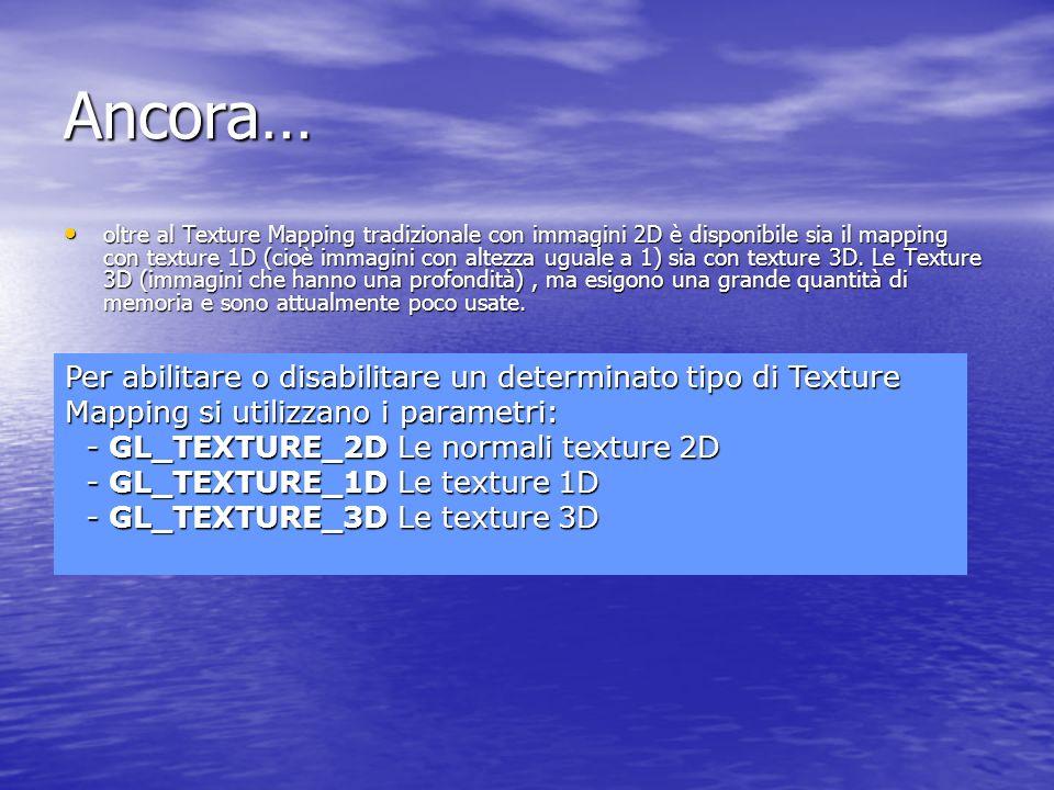 Ancora… oltre al Texture Mapping tradizionale con immagini 2D è disponibile sia il mapping con texture 1D (cioè immagini con altezza uguale a 1) sia c