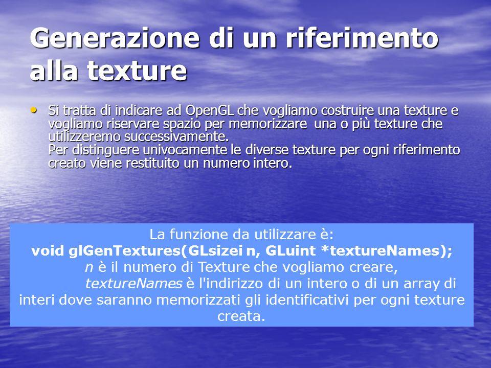 Clean Up Per eliminare una texture si chiama semplicemente la funzione Per eliminare una texture si chiama semplicemente la funzione void glDeleteTextures(GLsizei n, const GLuint *textureNames); n è il numero di texture che vogliamo eliminare textureNames è l indirizzo degli identificativi delle texture da eliminare.