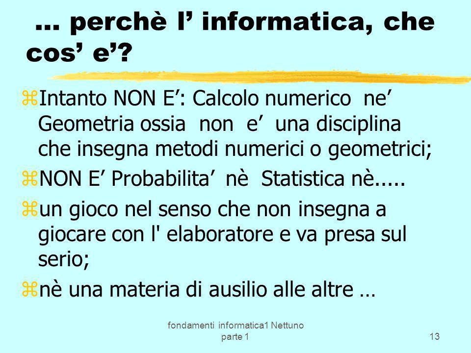 fondamenti informatica1 Nettuno parte 113 … perchè l informatica, che cos e? zIntanto NON E: Calcolo numerico ne Geometria ossia non e una disciplina