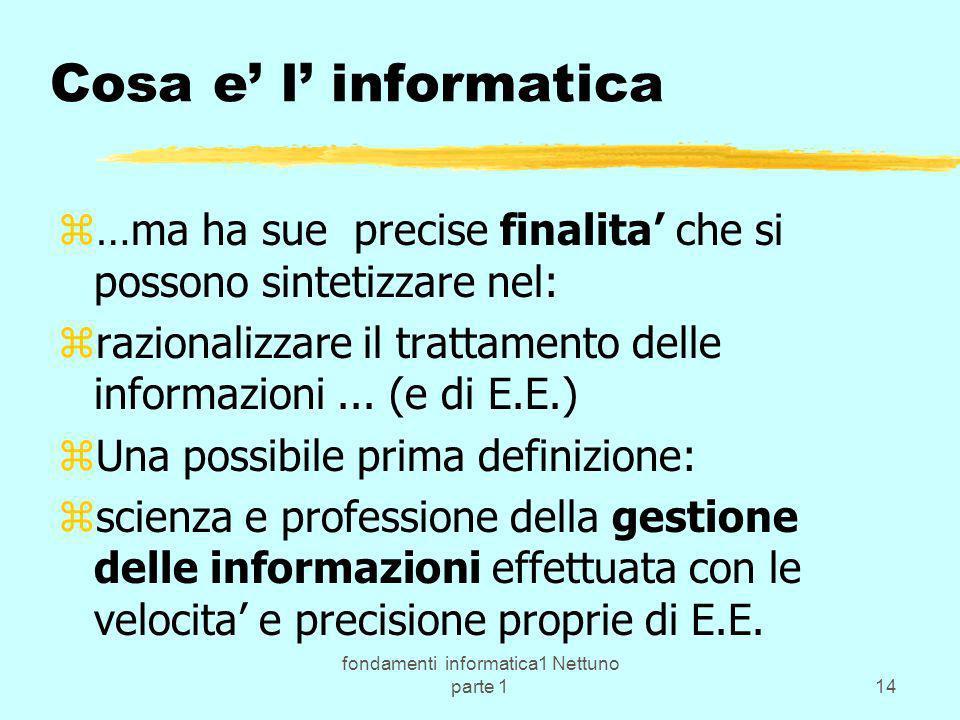 fondamenti informatica1 Nettuno parte 114 Cosa e l informatica z…ma ha sue precise finalita che si possono sintetizzare nel: zrazionalizzare il tratta