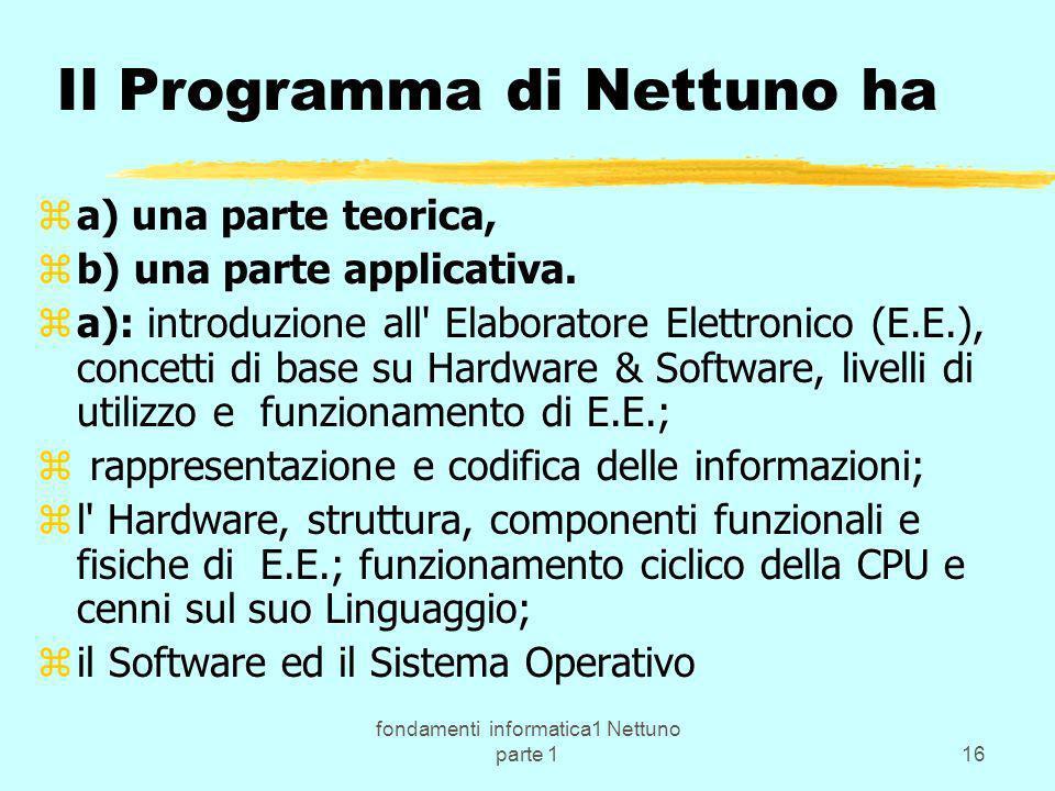 fondamenti informatica1 Nettuno parte 116 Il Programma di Nettuno ha za) una parte teorica, zb) una parte applicativa. za): introduzione all' Elaborat