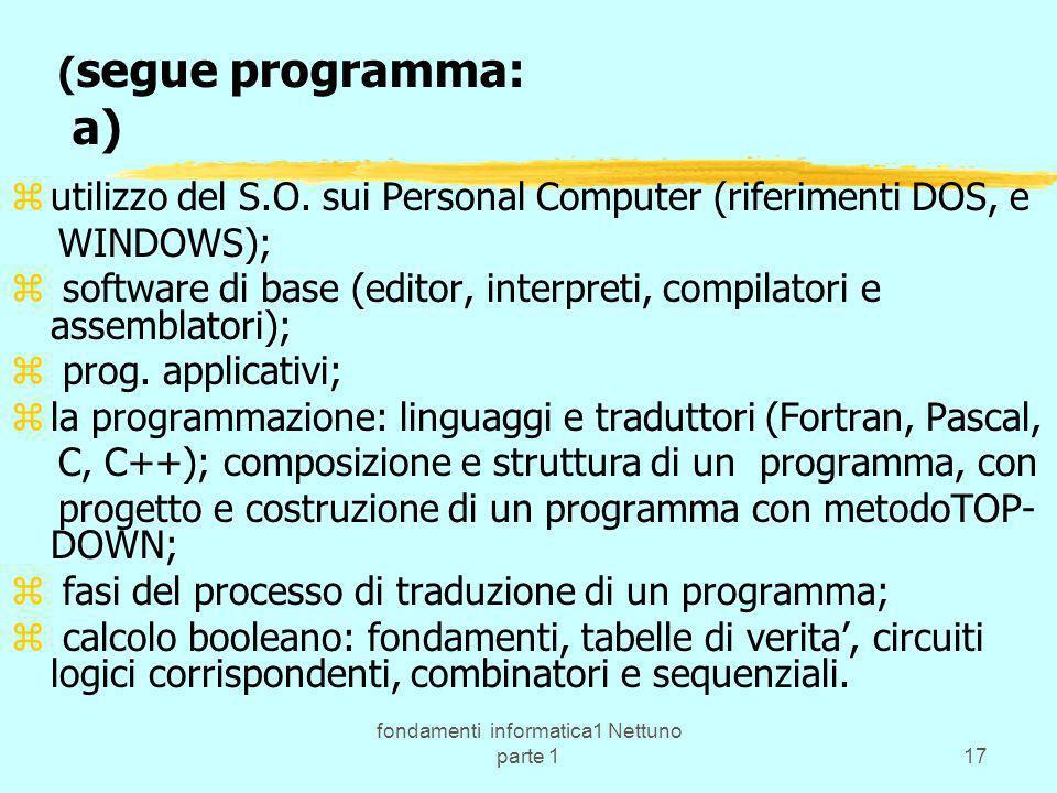 fondamenti informatica1 Nettuno parte 117 ( segue programma: a) zutilizzo del S.O. sui Personal Computer (riferimenti DOS, e WINDOWS); z software di b