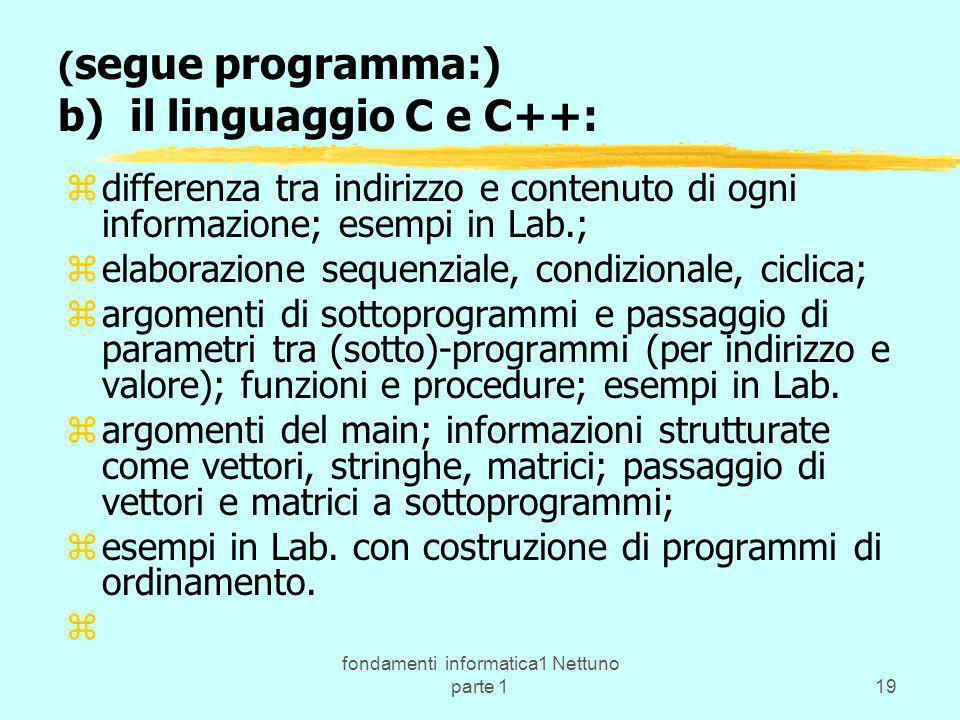 fondamenti informatica1 Nettuno parte 119 ( segue programma:) b) il linguaggio C e C++: zdifferenza tra indirizzo e contenuto di ogni informazione; es