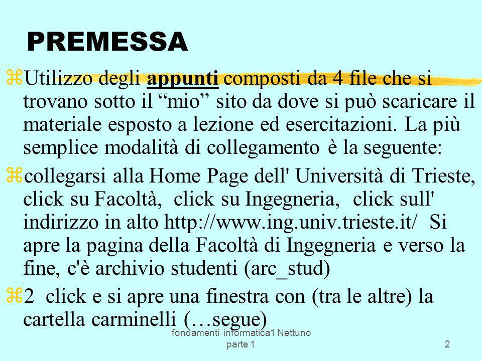 fondamenti informatica1 Nettuno parte 12 PREMESSA zUtilizzo degli appunti composti da 4 file che si trovano sotto il mio sito da dove si può scaricare