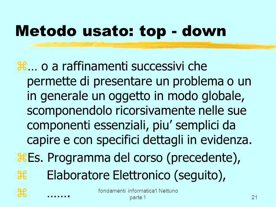 fondamenti informatica1 Nettuno parte 121 Metodo usato: top - down z… o a raffinamenti successivi che permette di presentare un problema o un in gener