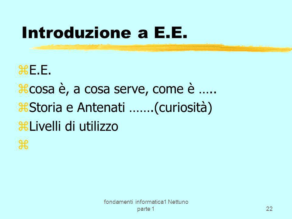 fondamenti informatica1 Nettuno parte 122 zE.E. zcosa è, a cosa serve, come è ….. zStoria e Antenati …….(curiosità) zLivelli di utilizzo z Introduzion