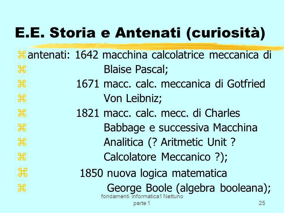 fondamenti informatica1 Nettuno parte 125 E.E. Storia e Antenati (curiosità) zantenati: 1642 macchina calcolatrice meccanica di z Blaise Pascal; z 167