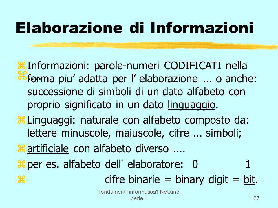 fondamenti informatica1 Nettuno parte 127 Elaborazione di Informazioni zInformazioni: parole-numeri CODIFICATI nella forma piu adatta per l elaborazio