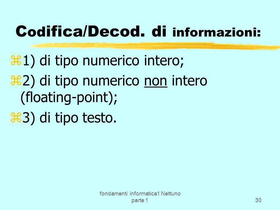 fondamenti informatica1 Nettuno parte 130 C od ifica/Decod. di informazioni: z1) di tipo numerico intero; z2) di tipo numerico non intero (floating-po