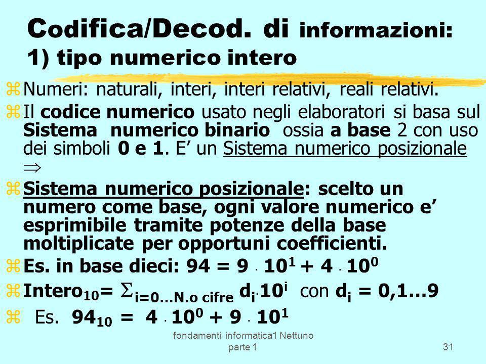 fondamenti informatica1 Nettuno parte 131 C od ifica/Decod. di informazioni: 1) tipo numerico intero zNumeri: naturali, interi, interi relativi, reali