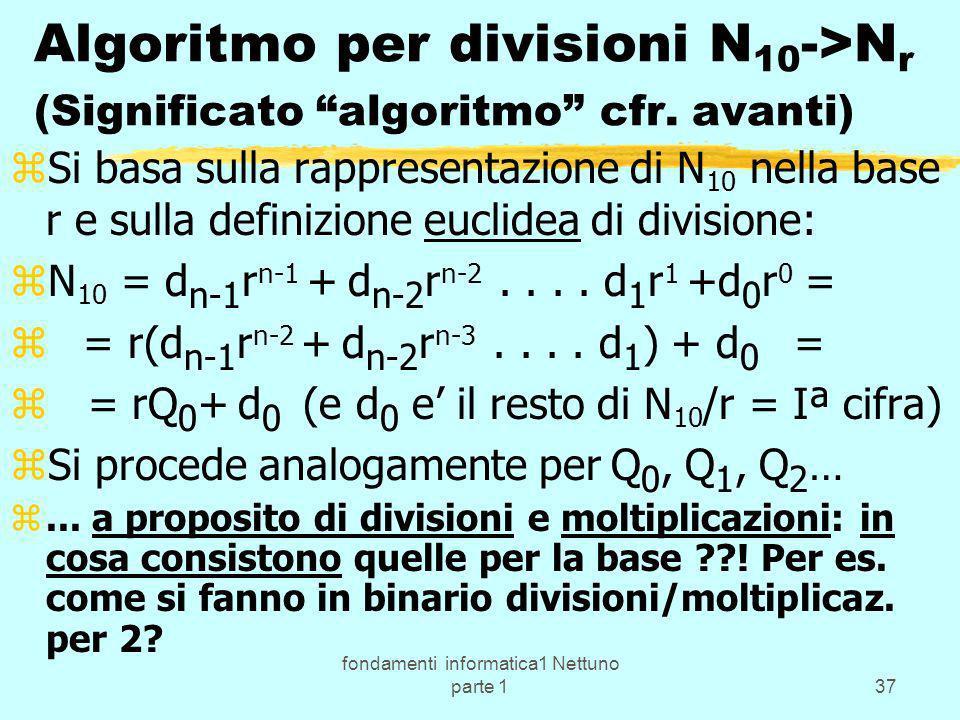 fondamenti informatica1 Nettuno parte 137 Algoritmo per divisioni N 10 ->N r (Significato algoritmo cfr. avanti) zSi basa sulla rappresentazione di N