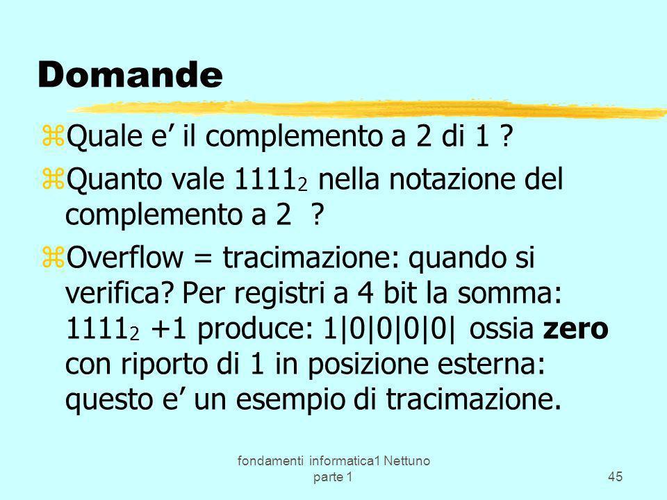 fondamenti informatica1 Nettuno parte 145 Domande zQuale e il complemento a 2 di 1 ? zQuanto vale 1111 2 nella notazione del complemento a 2 ? zOverfl
