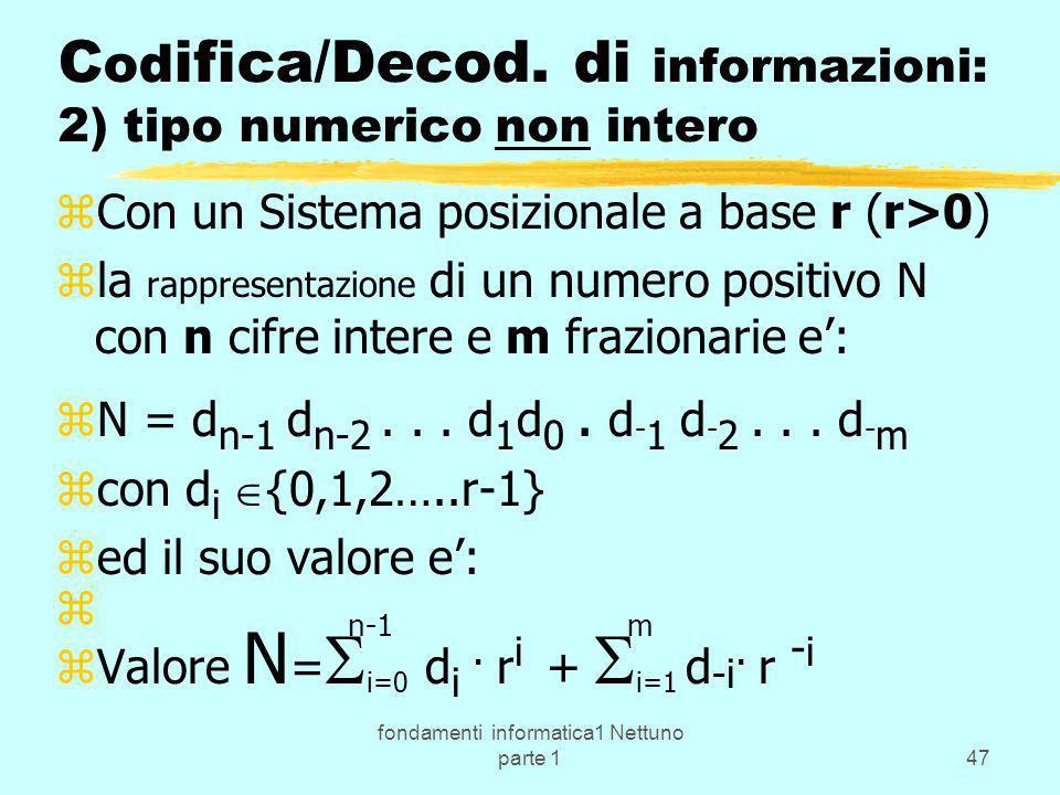 fondamenti informatica1 Nettuno parte 147 C od ifica/Decod. di informazioni: 2) tipo numerico non intero zCon un Sistema posizionale a base r (r>0) zl