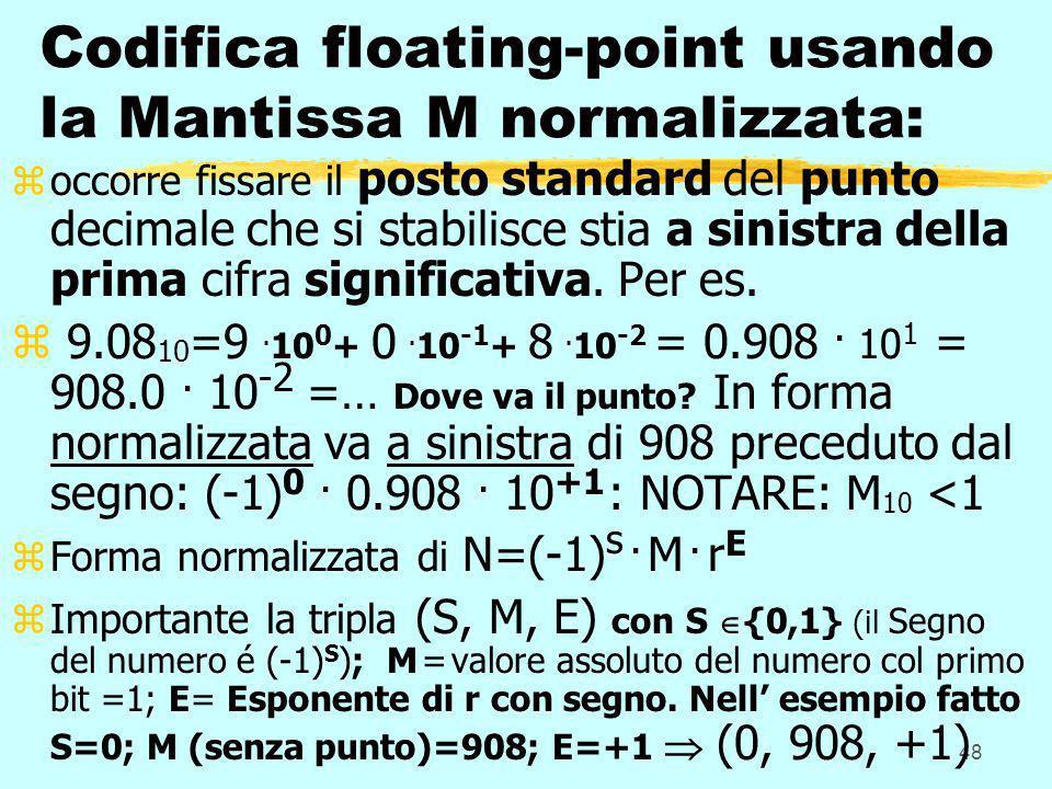 48 Codifica floating-point usando la Mantissa M normalizzata: zoccorre fissare il posto standard del punto decimale che si stabilisce stia a sinistra