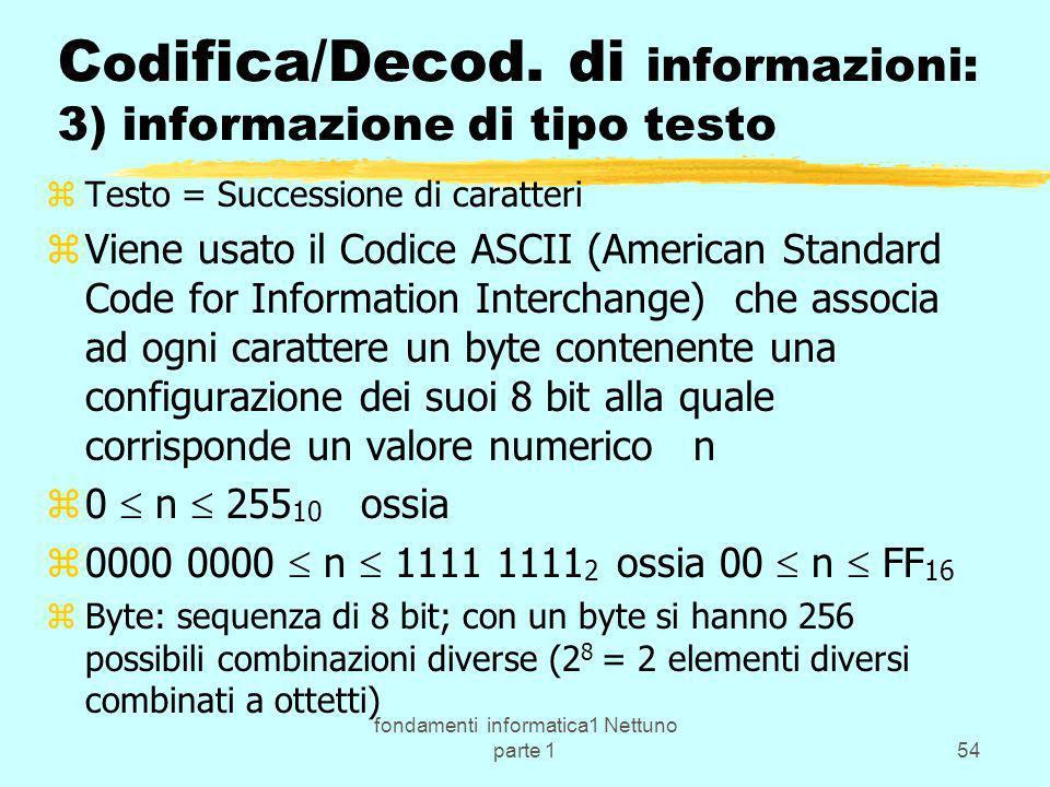fondamenti informatica1 Nettuno parte 154 C od ifica/Decod. di informazioni: 3) informazione di tipo testo zTesto = Successione di caratteri zViene us