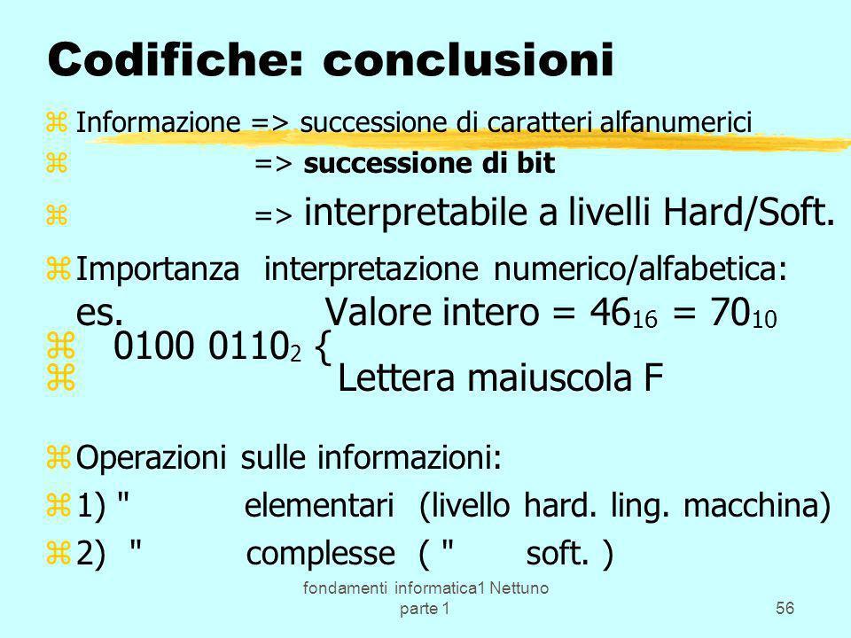 fondamenti informatica1 Nettuno parte 156 Codifiche: conclusioni zInformazione => successione di caratteri alfanumerici z => successione di bit z => i