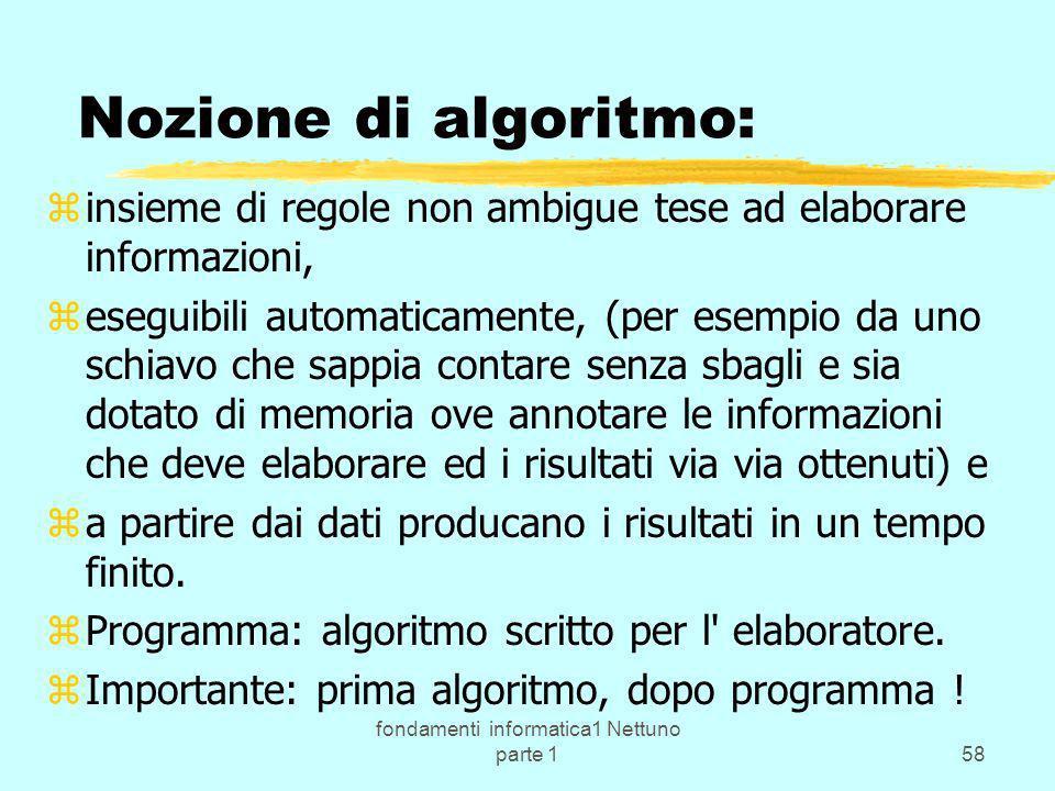 fondamenti informatica1 Nettuno parte 158 Nozione di algoritmo: zinsieme di regole non ambigue tese ad elaborare informazioni, zeseguibili automaticam