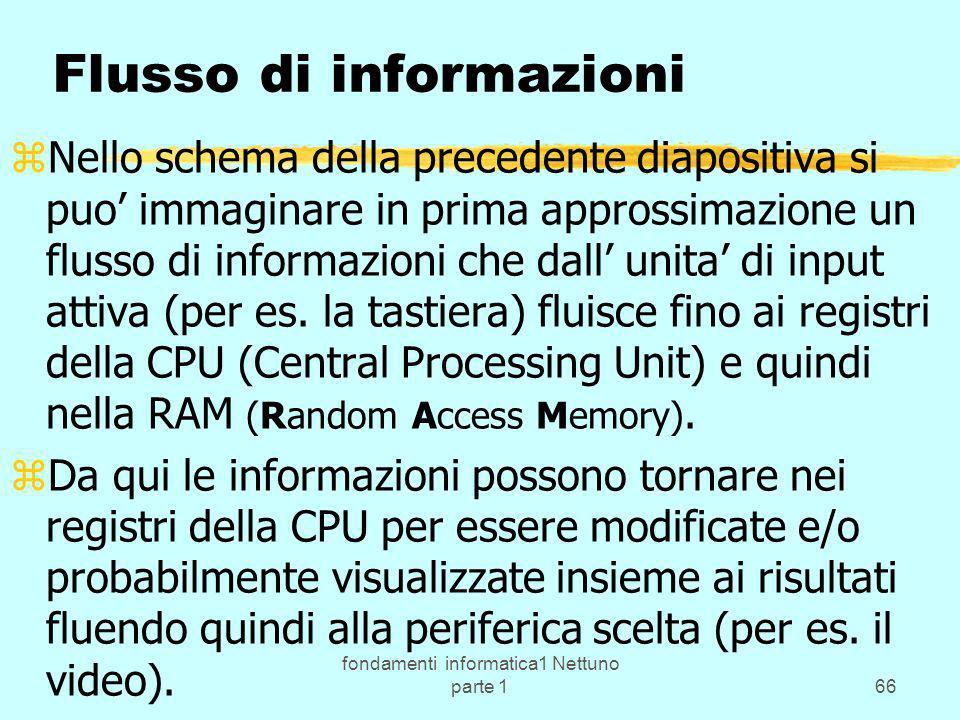 fondamenti informatica1 Nettuno parte 166 Flusso di informazioni zNello schema della precedente diapositiva si puo immaginare in prima approssimazione