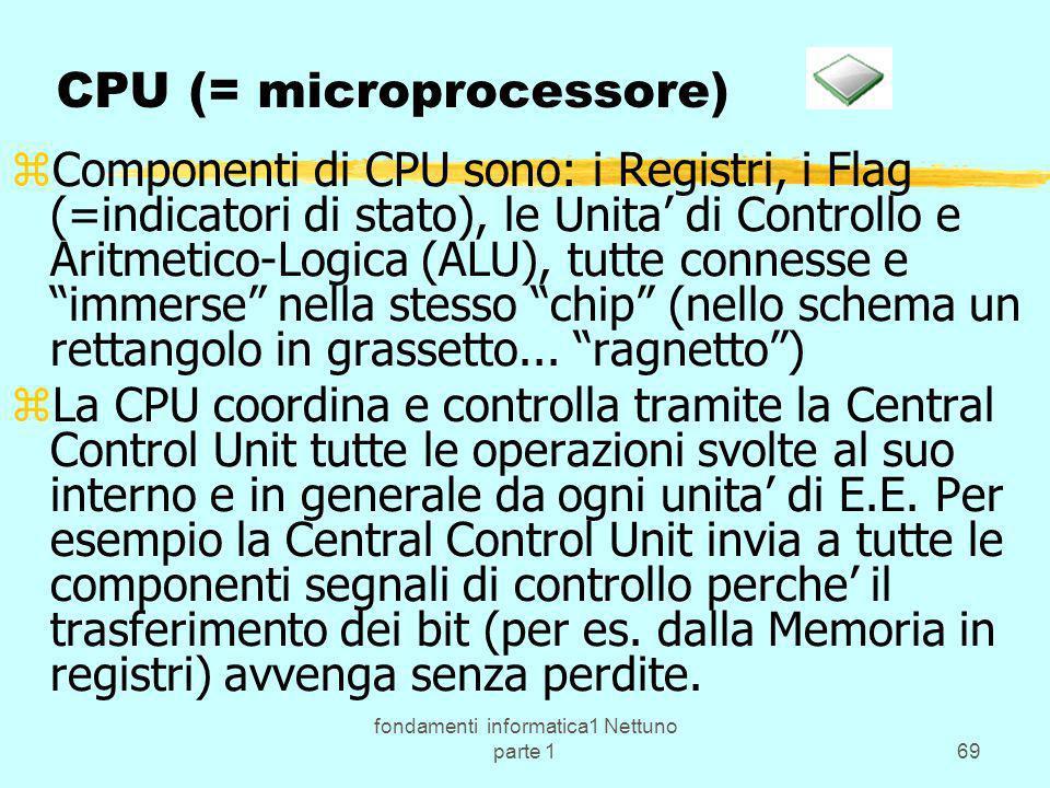 fondamenti informatica1 Nettuno parte 169 CPU (= microprocessore) zComponenti di CPU sono: i Registri, i Flag (=indicatori di stato), le Unita di Cont