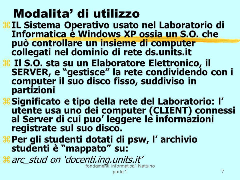 fondamenti informatica1 Nettuno parte 118 ( segue programma:) b) il linguaggio C e C++: zb) Uso dell ambiente di sviluppo (della Borland per il C++) z fasi di sviluppo di un programma: progetto - stesura - compilazione - linkaggio - esecuzione; esempi in Lab.; z programmi monolitici e strutturati con uso di z funzioni come e tipico nei programmi in C e C++; z concetto di funzione e di sottoprogramma in generale; z librerie e file header del C e C++; esempi in Lab.; z tipi di dati e di operatori; le variabili, le espressioni, z la frase di assegnazione; variabili locali e globali, z ambiente locale e globale; cenni su compilazione separata;