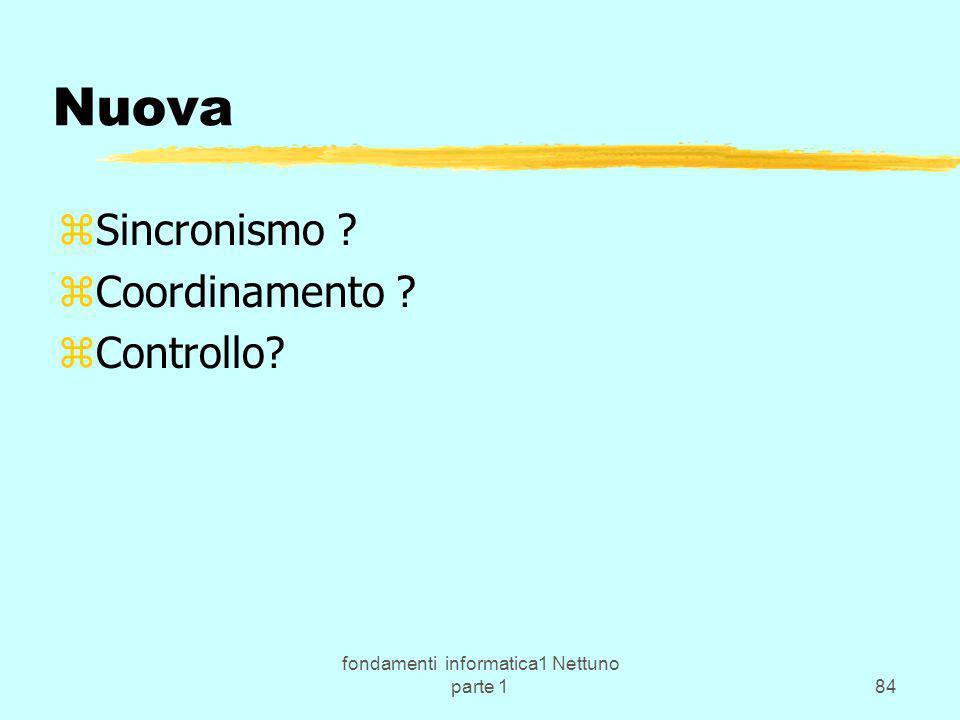 fondamenti informatica1 Nettuno parte 184 Nuova zSincronismo ? zCoordinamento ? zControllo?