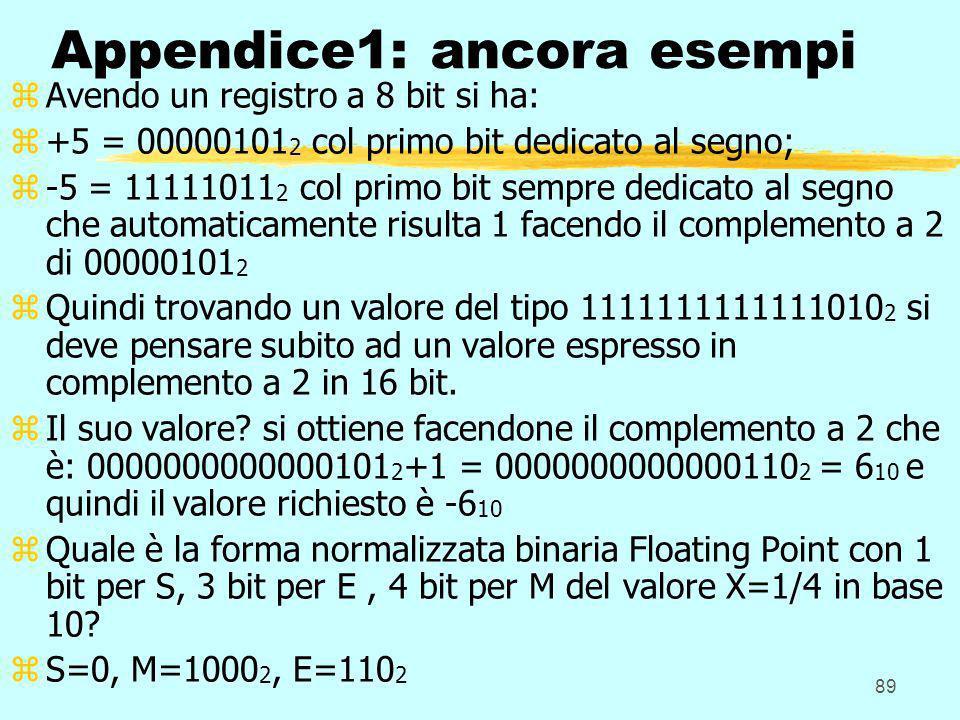 89 Appendice1: ancora esempi zAvendo un registro a 8 bit si ha: z+5 = 00000101 2 col primo bit dedicato al segno; z-5 = 11111011 2 col primo bit sempr