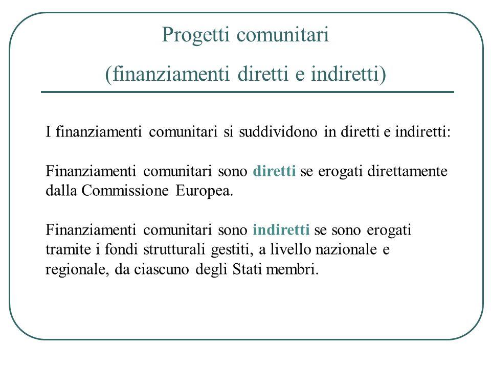 Progetti comunitari (finanziamenti diretti e indiretti) I finanziamenti comunitari si suddividono in diretti e indiretti: Finanziamenti comunitari son