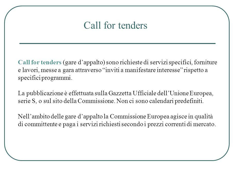 Call for tenders Call for tenders (gare dappalto) sono richieste di servizi specifici, forniture e lavori, messe a gara attraverso inviti a manifestar