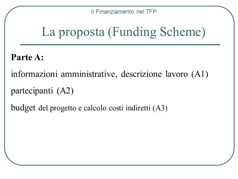 Il Finanziamento nel 7FP La proposta (Funding Scheme) Parte A: informazioni amministrative, descrizione lavoro (A1) partecipanti (A2) budget del proge