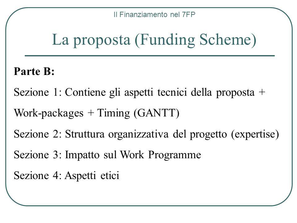 Il Finanziamento nel 7FP La proposta (Funding Scheme) Parte B: Sezione 1: Contiene gli aspetti tecnici della proposta + Work-packages + Timing (GANTT)