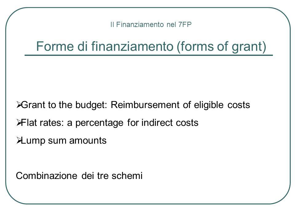 Il Finanziamento nel 7FP Forme di finanziamento (forms of grant) Grant to the budget: Reimbursement of eligible costs Flat rates: a percentage for ind