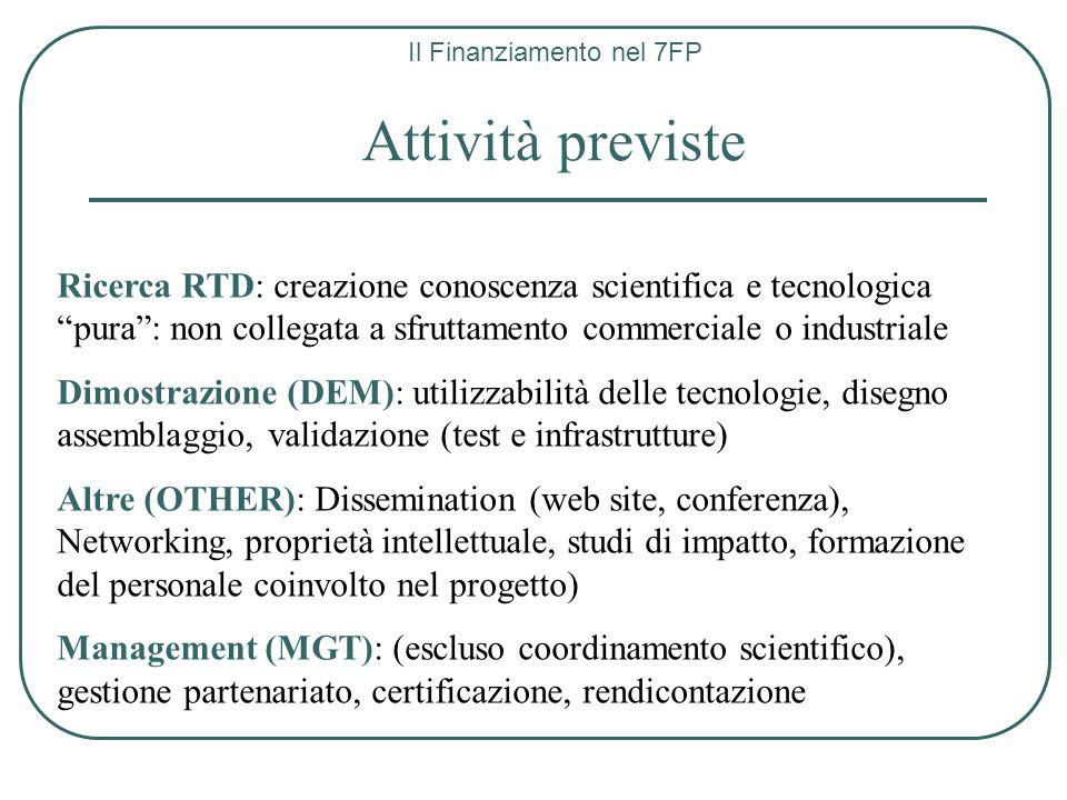 Il Finanziamento nel 7FP Attività previste Ricerca RTD: creazione conoscenza scientifica e tecnologica pura: non collegata a sfruttamento commerciale