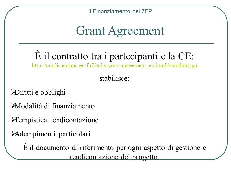 Il Finanziamento nel 7FP Grant Agreement È il contratto tra i partecipanti e la CE: http://cordis.europa.eu/fp7/calls-grant-agreement_en.html#standard