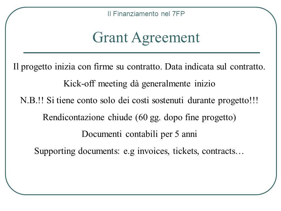 Il Finanziamento nel 7FP Grant Agreement Il progetto inizia con firme su contratto. Data indicata sul contratto. Kick-off meeting dà generalmente iniz