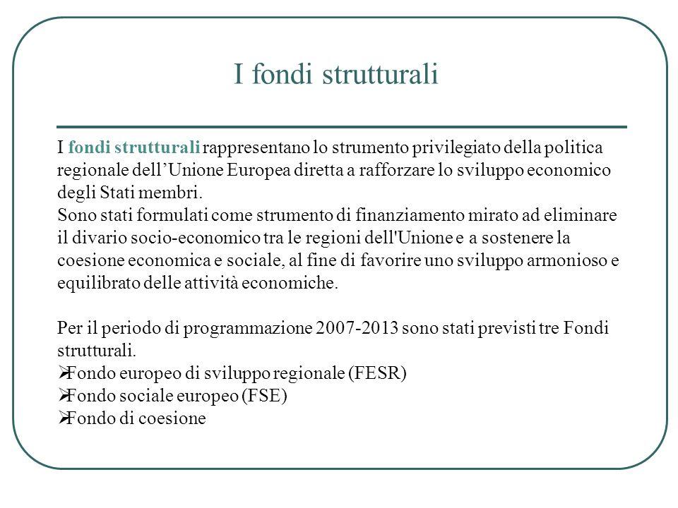 I fondi strutturali I fondi strutturali rappresentano lo strumento privilegiato della politica regionale dellUnione Europea diretta a rafforzare lo sv