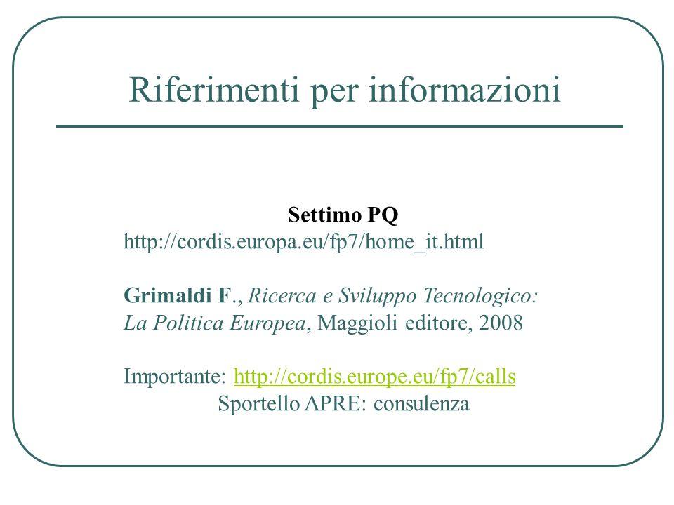 Riferimenti per informazioni Settimo PQ http://cordis.europa.eu/fp7/home_it.html Grimaldi F., Ricerca e Sviluppo Tecnologico: La Politica Europea, Mag