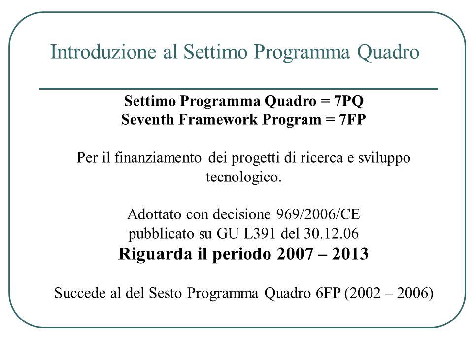 Settimo Programma Quadro = 7PQ Seventh Framework Program = 7FP Per il finanziamento dei progetti di ricerca e sviluppo tecnologico. Adottato con decis