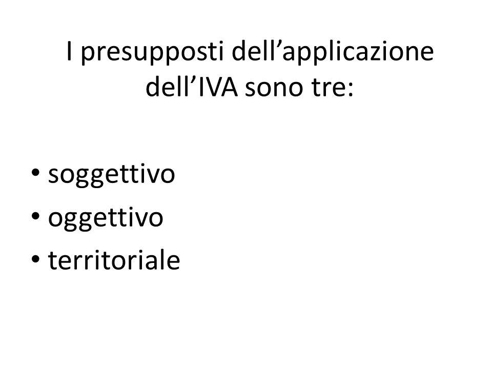 I presupposti dellapplicazione dellIVA sono tre: soggettivo oggettivo territoriale