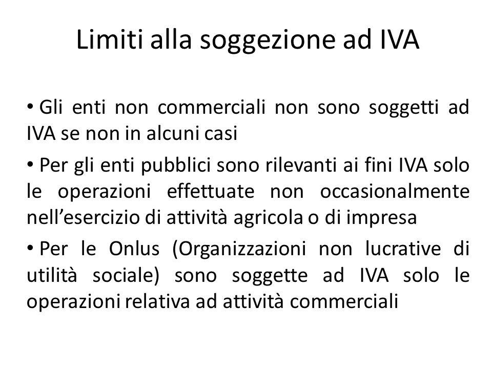 Limiti alla soggezione ad IVA Gli enti non commerciali non sono soggetti ad IVA se non in alcuni casi Per gli enti pubblici sono rilevanti ai fini IVA