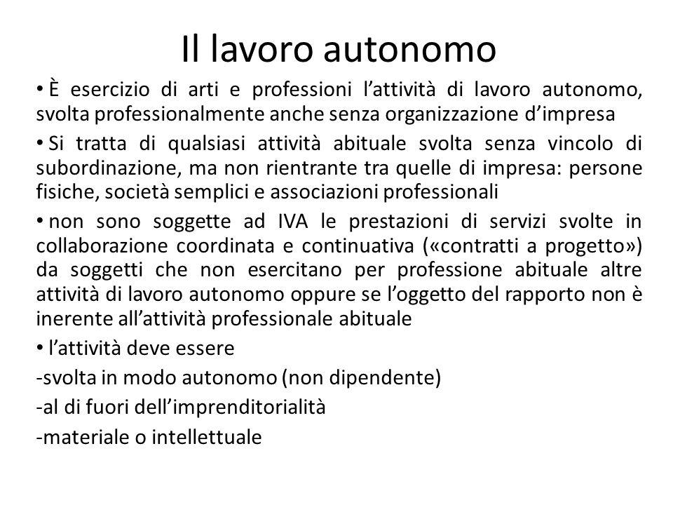Il lavoro autonomo È esercizio di arti e professioni lattività di lavoro autonomo, svolta professionalmente anche senza organizzazione dimpresa Si tra