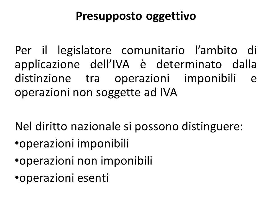 Presupposto oggettivo Per il legislatore comunitario lambito di applicazione dellIVA è determinato dalla distinzione tra operazioni imponibili e opera