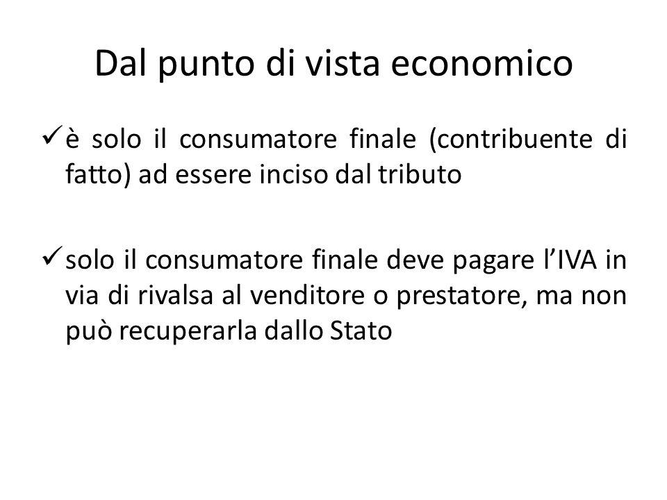 Dal punto di vista economico è solo il consumatore finale (contribuente di fatto) ad essere inciso dal tributo solo il consumatore finale deve pagare