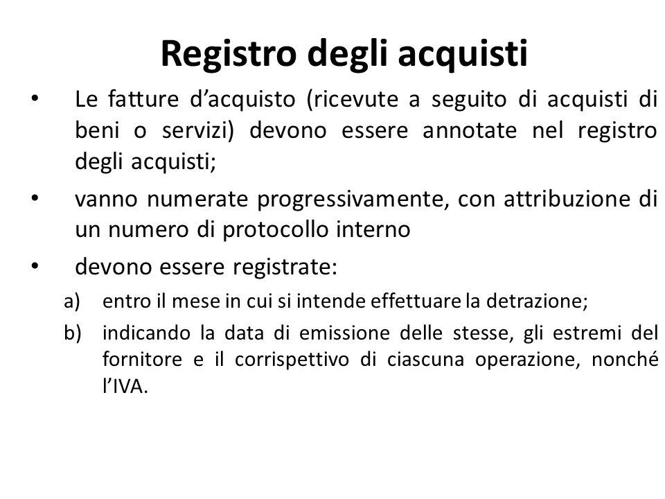 Registro degli acquisti Le fatture dacquisto (ricevute a seguito di acquisti di beni o servizi) devono essere annotate nel registro degli acquisti; va