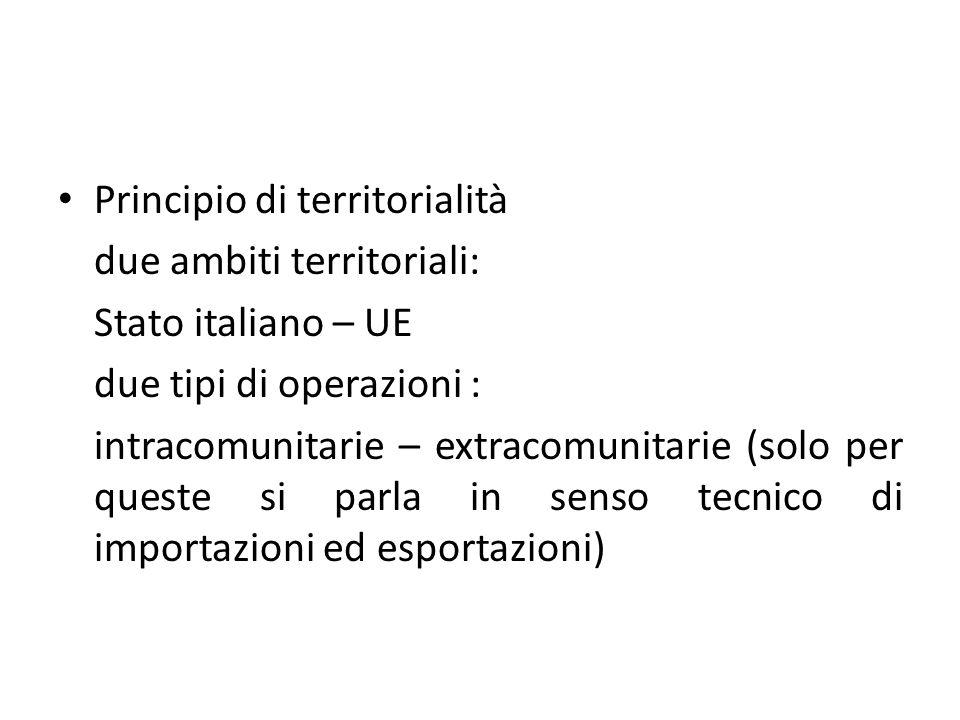 Principio di territorialità due ambiti territoriali: Stato italiano – UE due tipi di operazioni : intracomunitarie – extracomunitarie (solo per queste