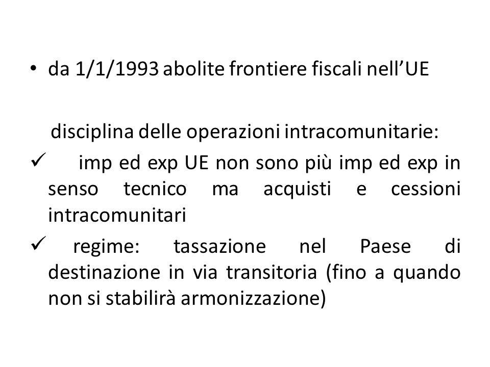 da 1/1/1993 abolite frontiere fiscali nellUE disciplina delle operazioni intracomunitarie: imp ed exp UE non sono più imp ed exp in senso tecnico ma a