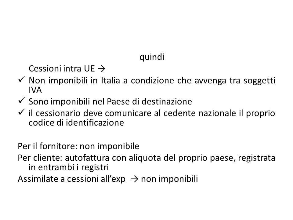 quindi Cessioni intra UE Non imponibili in Italia a condizione che avvenga tra soggetti IVA Sono imponibili nel Paese di destinazione il cessionario d