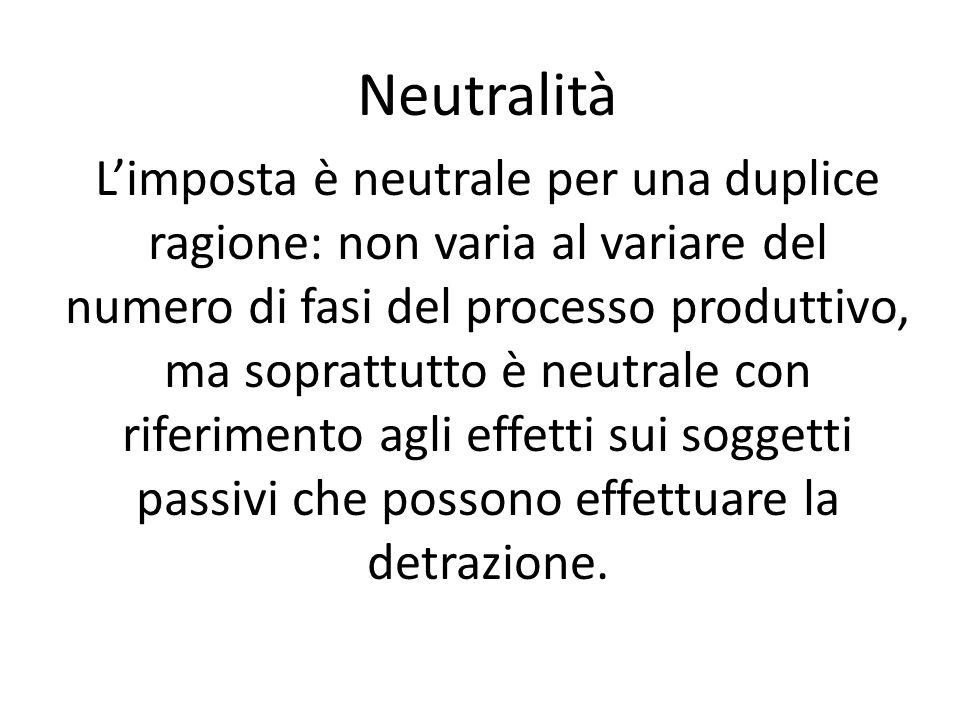Neutralità Limposta è neutrale per una duplice ragione: non varia al variare del numero di fasi del processo produttivo, ma soprattutto è neutrale con