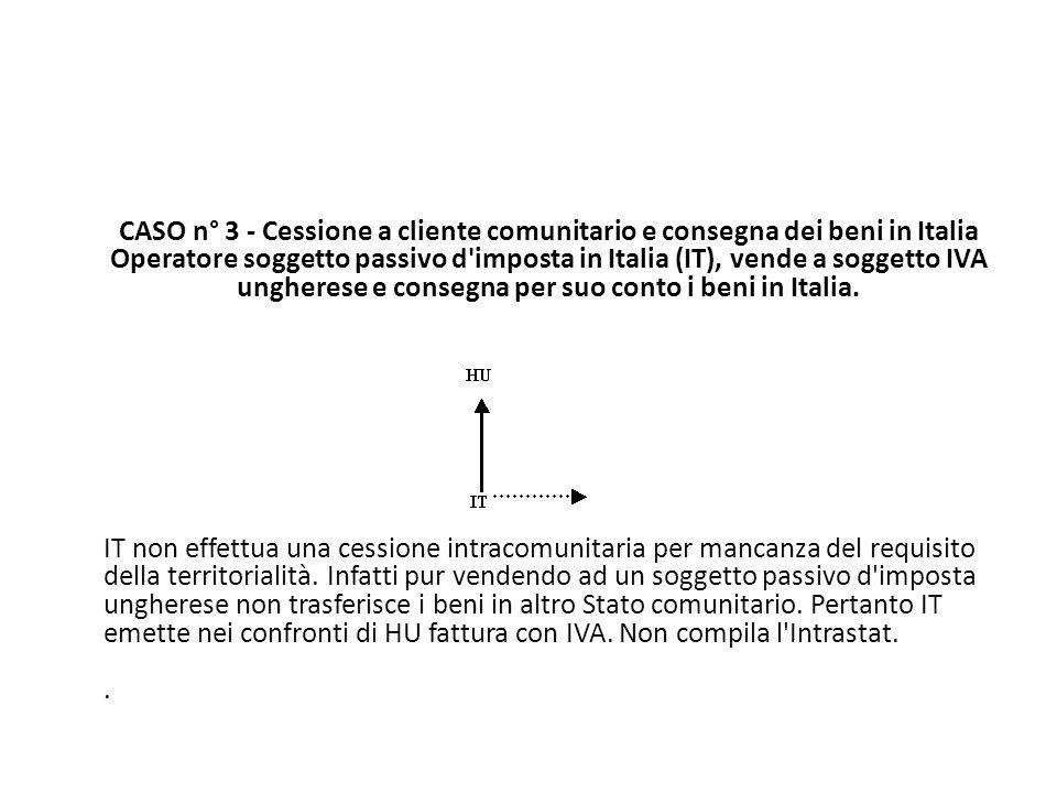 CASO n° 3 - Cessione a cliente comunitario e consegna dei beni in Italia Operatore soggetto passivo d'imposta in Italia (IT), vende a soggetto IVA ung