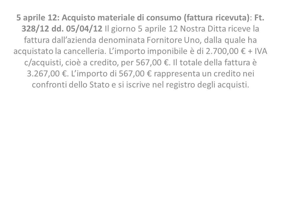 5 aprile 12: Acquisto materiale di consumo (fattura ricevuta): Ft. 328/12 dd. 05/04/12 Il giorno 5 aprile 12 Nostra Ditta riceve la fattura dallaziend