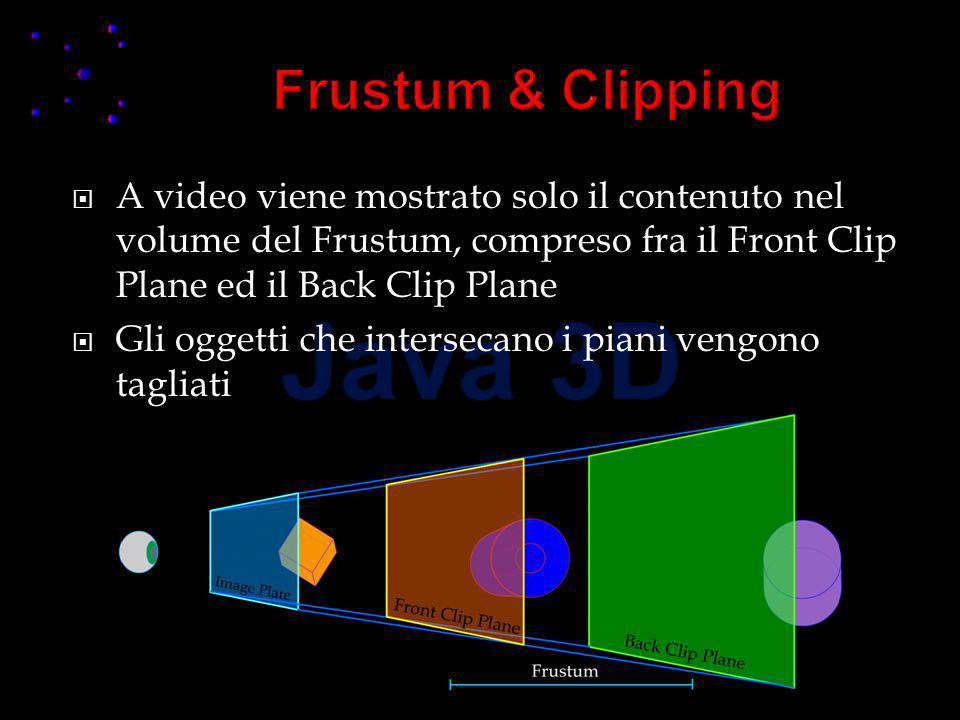 A video viene mostrato solo il contenuto nel volume del Frustum, compreso fra il Front Clip Plane ed il Back Clip Plane Gli oggetti che intersecano i piani vengono tagliati